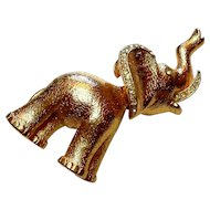 Signed Coro Trembling Head Elephant Brooch circa 1960