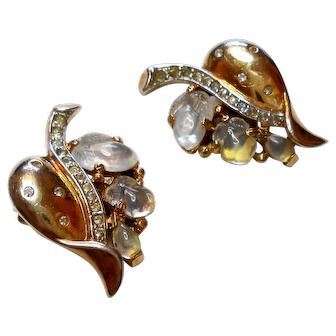 Signed Trifari Carved Glass Fruit Clip Earrings circa 1940