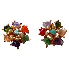 Signed Swoboda Gem Stone & Pearl Button Style Clip Earrings c. 60