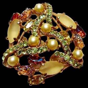 Signed Schiaparelli Art Glass Carved Glass Brooch circa 1960