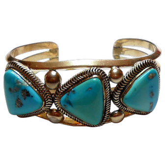 Signed Native American Derrick Gordon Sterling & Kingman Turquoise Cuff Bracelet