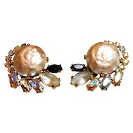 Signed Schiaparelli Imitation Baroque Pearl Earrings circa 1950