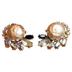 Signed Schiaparelli Imitation Baroque Pearl Earrings circa 1950