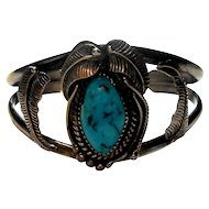 Signed Kirk Native American Sterling & Turquoise Cuff Bracelet