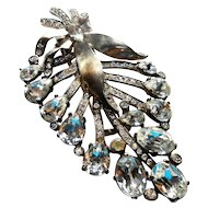 Signed Eisenberg Original Sterling & Clear Rhinestone Fur Clip c. 40