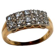 Signed Medco 14kt Two Tone Diamond Wedding Band circa 1950