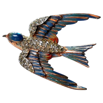 Signed CoroCraft Sterling w/ Enamel Bird in Flight Brooch c. 40