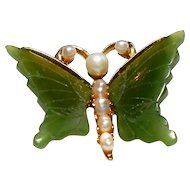 Signed Swoboda Butterfly Brooch w/  Jade Wings