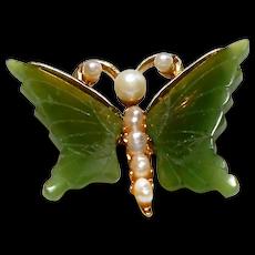 Signed Swoboda Butterfly Brooch w/  Jade Wings