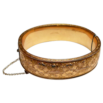 Signed Dunn Bros. Gold Filled Victorian Revival Chased Bangle circa 1930