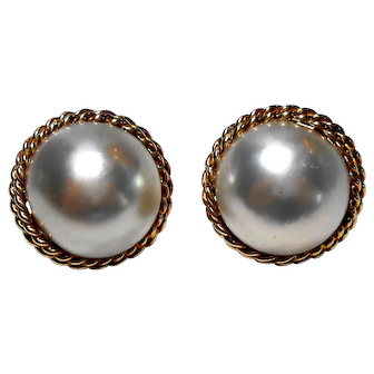 Signed 14K Yellow Gold Pierced Mabe Pearl Earrings