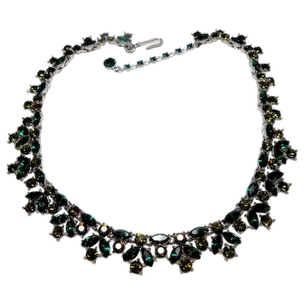Signed Trifari Green & Olive Rhinestone Necklace circa 1950