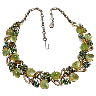 Signed Lisner Carved Glass Lime Fruit Necklace w/ Green Rhinestone Detail c. 50