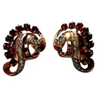 Signed - Patent 1967965 Sterling - Clip Earrings in Gold Tone Set w/ Red & Clear Stones c. 40