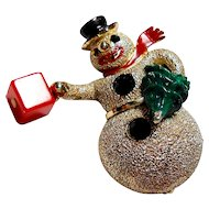 Signed Hollycraft Snowman Brooch circa 1960
