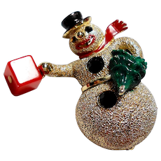 Signed Hollycraft Snowman Brooch circa 1960