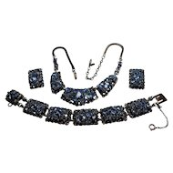 Signed Barclay Blue Rhinestone Necklace, Bracelet & Earring Set circa 1960