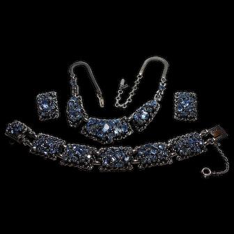 Signed Barclay Blue Rhinestone Necklace, Bracelet & Earring Set circa 1960