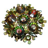 DeLizza & Elster Juliana Green Margarita stone Brooch circa 1960