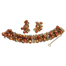Unsigned Drippy Golden Rhinestone & Bead Thick Bracelet & Earring Set c. 60