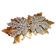 Set of Two McClelland Barclay Golden Maple Leaf Fur Clips c. 40