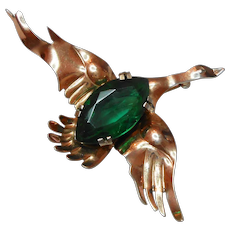 Signed Sterling Rose Gold Plated Mallard Duck w/ a Green Glass Belly c. 40