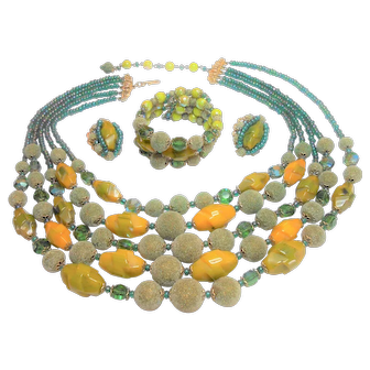 Signed Hobe Aurora Glass, Sugar Bead & Bakelite Bead Set circa 1960