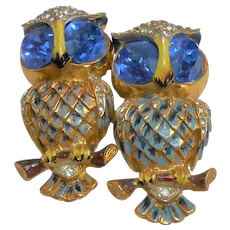 Signed Corocraft Sterling Owl Duette Blue Eyes circa 1940
