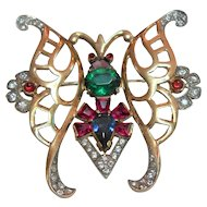 Signed Sterling Butterfly Brooch w/ Rhinestone Details c. 1940