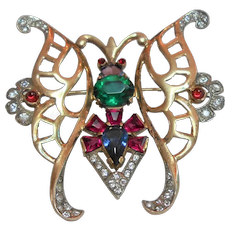 Signed Sterling Butterfly Brooch w/ Rhinestone Details c. 1940