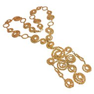 Signed D'Orlan Gold Tone Mod Necklace circa 1970