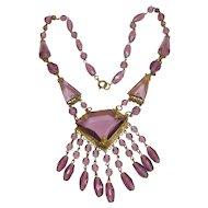 Unsigned Czechoslovakian Purple Glass Necklace circa 1930