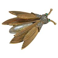 Signed Pauline Rader Bug Wing Trembler Brooch c. 1960