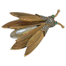 Signed Pauline Rader Bug Wing Trembler Brooch c. 1960