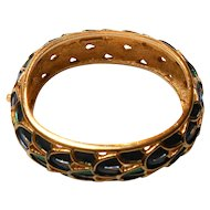 "Signed Boucher ""Peacock Feather"" Bangle in Blue & Green circa 1960"
