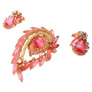 DeLizza & Elster Juliana Pink Givre Glass Brooch & Earring Set circa 1960