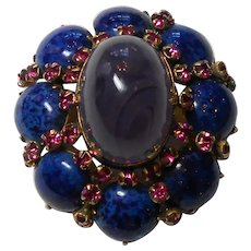 Unsigned Beauty Brooch Flawed Amethyst Glass & Molted Blue Glass circa 1950