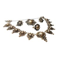 Early Signed Silver Mexico Grand Parure Beaded Style Set circa 1940