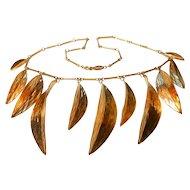 Signed Napier Golden Leaf Bib Necklace circa 1980