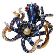 Signed Trifari Octopus Brooch in Blue Enamel w/ Red Eye's