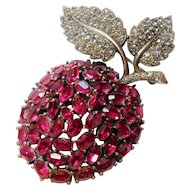 Signed Trifari Pave Rhinestone Articulated Apple Brooch circa 1950