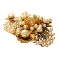 Signed Miriam Haskell Russian Gold Tone w/ Imitation Pearl Floral Brooch c. 50