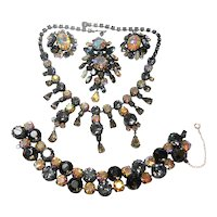 Unsigned Regency Grand Parure of Aurora & Smoke Rhinestones c. 60