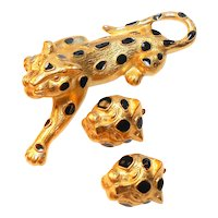 Signed Trifari Gold Tone Leopard w/ Black Enamel Spots Brooch & Earring Set c. 70