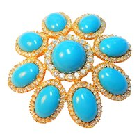 Signed Cadoro Turquoise Lucite Clear Rhinestone Flower Brooch circa 1960