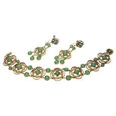 Unsigned Art Deco Era Chrysoprase Glass Gold Plated Bracelet & Earring Set