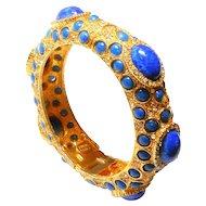 Signed Pauline Rader Blue Peking Glass - Pave Bangle c. 1960
