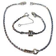 Signed Mazer Lavender Baguette Rhinestone Necklace & Bracelet Set c. 50