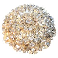 Massive Layered Clear Rhinestone Flower/Snowflake Brooch circa 1950