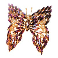 Massive Runway Style Butterfly Brooch in Purple circa 1960